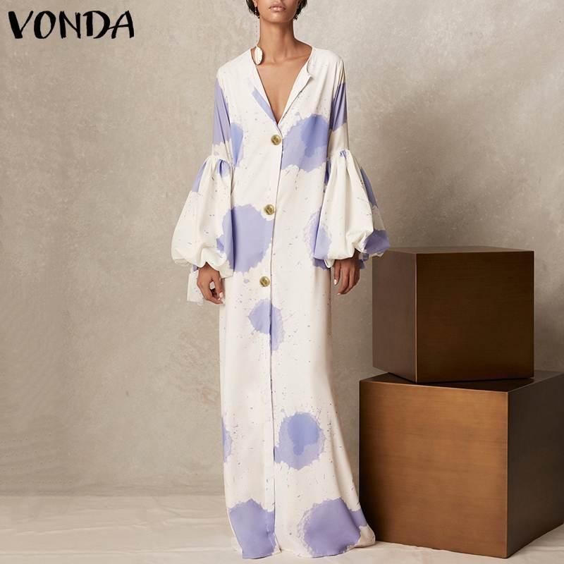 VONDA 2019 Элегантный V шеи длинные платья Фонари рукавом печати вечерние женские пикантные Повседневное Maxi Dress Vestidos плюс Размеры 5XL