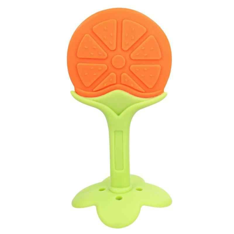 Прорезыватель жевать игрушка Детская безопасность новый дизайн милые детские силиконовые фрукты Прорезыватель дерева зубы тренинг малыша зубные средства ухода за зуб