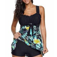 2PCS Women Stripe Print Swimwear Tankini Plus Size Swimdress High Waist Fashion Swimdress Sexy Beachwear Flower Swimsuit недорого