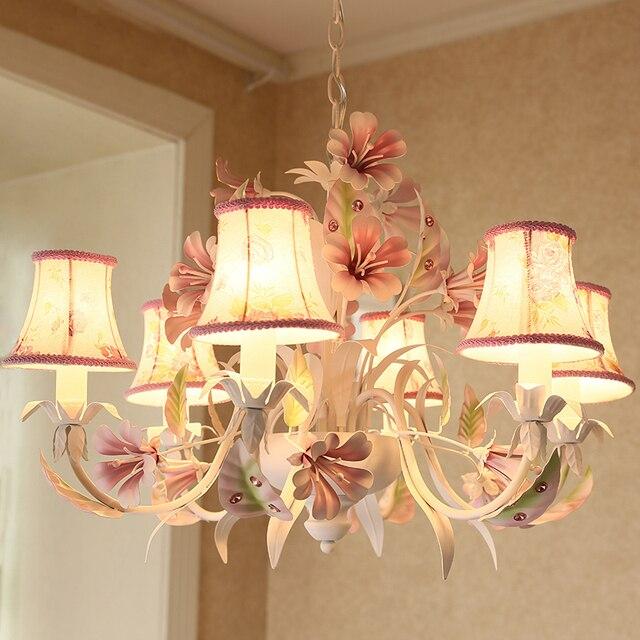 Kid's colorful flower hanging lamp iron Chandelier for  Bedroom girl children princess room Dining Room home lights & lighting