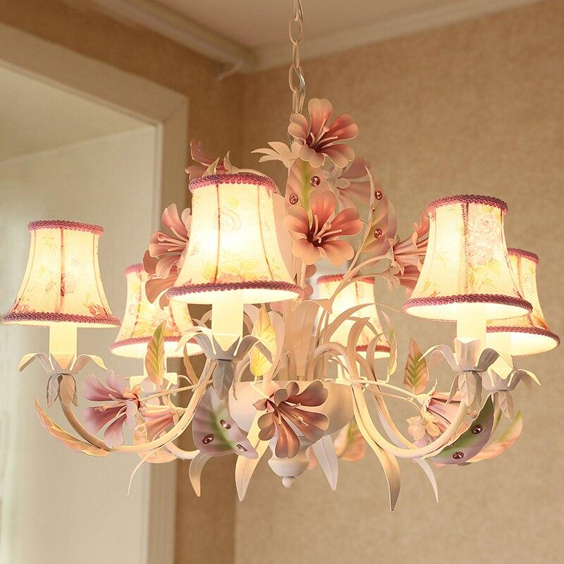 Lampe suspendue à fleurs colorées pour enfants, lustre en fer pour chambre, fille, enfants, salle à manger, salle à manger, lumières et éclairage