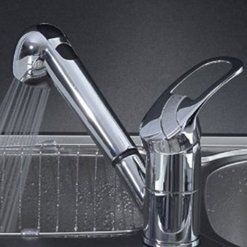 Single Handle Low Arc Pull Out Kitchen Sink Faucet with Two Spray Model, Chrome
