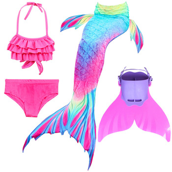 4pcs/set Mermaid Tail With Monofin Flipper Bikini Girls Children Kids Swimmable Swimming Mermaid Tail Costome Cosplay sbart 2mm neoprene diving wetsuits mermaid tail simulation fish scales mermaid tail children swimming swimsuit mermaid tail fins