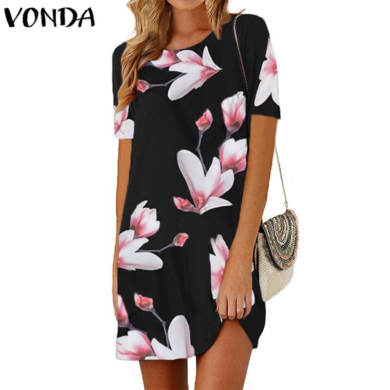 08362334fa73 VONDA Women Floral Printed Mini Dress 2018 Summer Pregnant Vintage Bohemian  Casual Short Sleeve Maternity Elegant