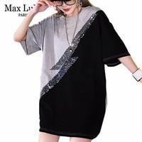 Max LuLu Luxury Korean Fashion Ladies Summer Tops Tees Women Sequins Oversized T shirt Patchwork Streetwear Loose Long T Shirts