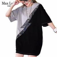 Max LuLu Luxury Korean Fashion Ladies Summer Tops Tees Women Sequins Oversized T shirt Patchwork Streetwear Loose Long T Shirts