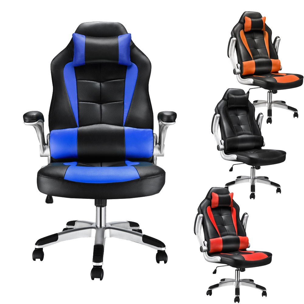 Panana Home Computer Desk Armchair Boss Office Chair Armrest Reclining PU Leather Adjustable Rotating Lift Race Chair