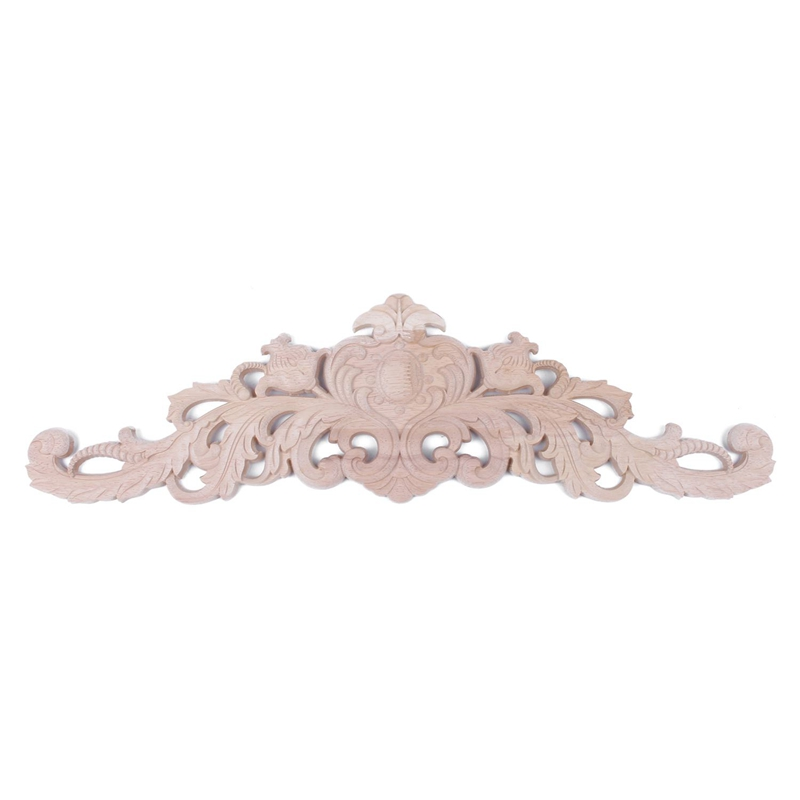 European Style Real Rubber Wood Long Floral Carving Applique Home Decoration Accessories Door Cabinet Furniture Figurines 59*1
