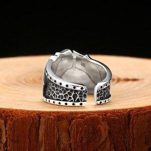 Image 4 - Zabra poker anel sólido 925 prata rock punk anéis para homens feminino preto signet jóias tamanho ajustável 7 a 10 pode cutomize tamanho