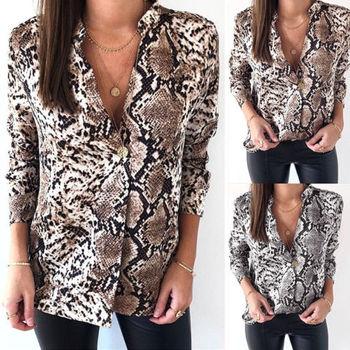 Newly Women Snake Print Shirt Tops Long Sleeve Python skin Printed Casual Loose V-Neck Ladies Blouses
