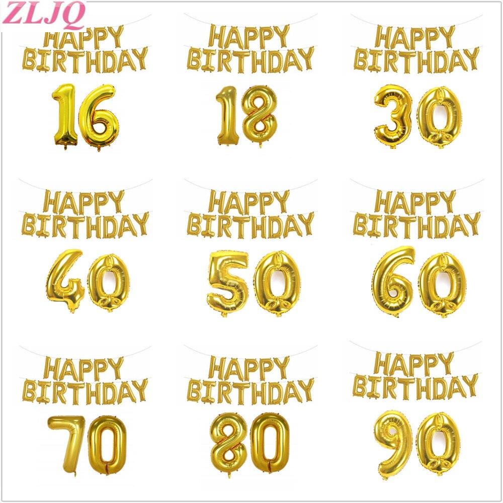 ZLJQ Feliz Folha de Aniversário Balão Adulto Número 16 18 30 40 50 60 70 80 90 Decoração Festa de Aniversário de Ouro fontes Do Partido de aniversário 75