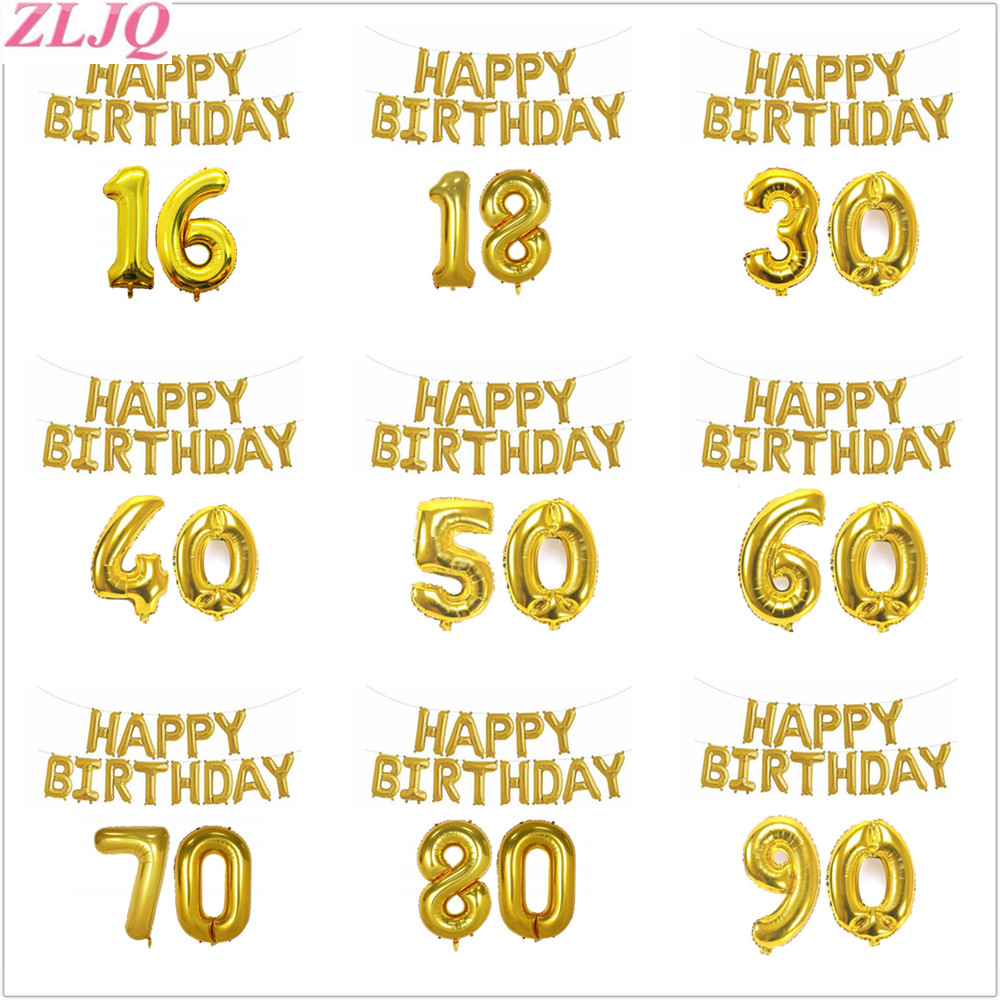 ZLJQ Happy Birthday Foil Balloon Adult Number 16 18 30 40 50 60 70 80 90 Birthday Party Decoration Golden Bday Party Supplies 75