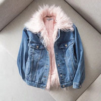 Autumn Winter Jacket Coat Fur Lined Women Jeans Demin jacket Fur Coats womens jackets and coats chaquetas mujer