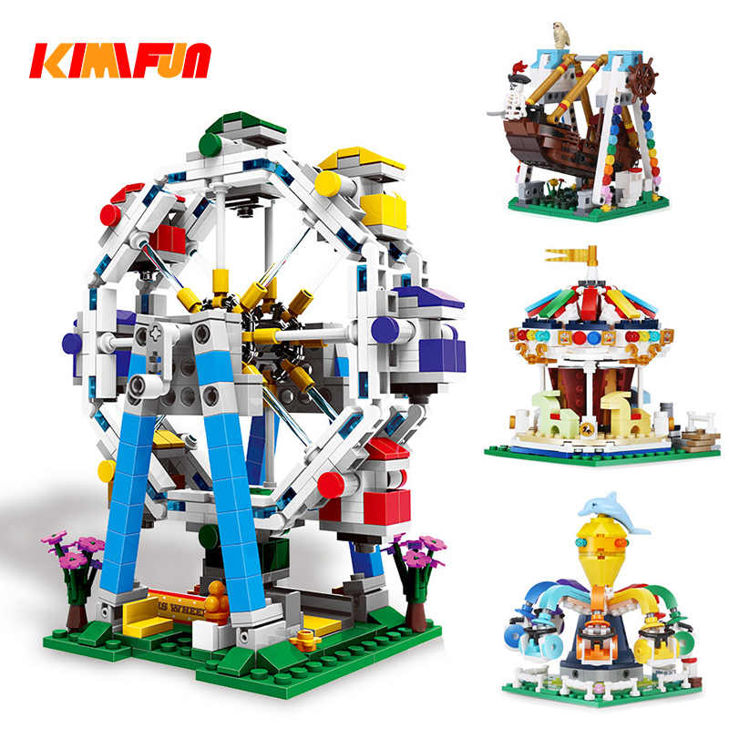 300+ Amusement Park Ferris Wheel Building Blocks Model Pirate ship Bricks Toys For Kids Educational Gifts  Compatible