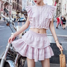 COLOREE Women Fashion Two Piece Of Sets 2019 Summer Sweet Pink Single Breasted Short Tops+Cascading Ruffles Mini Casual Skirt(China)