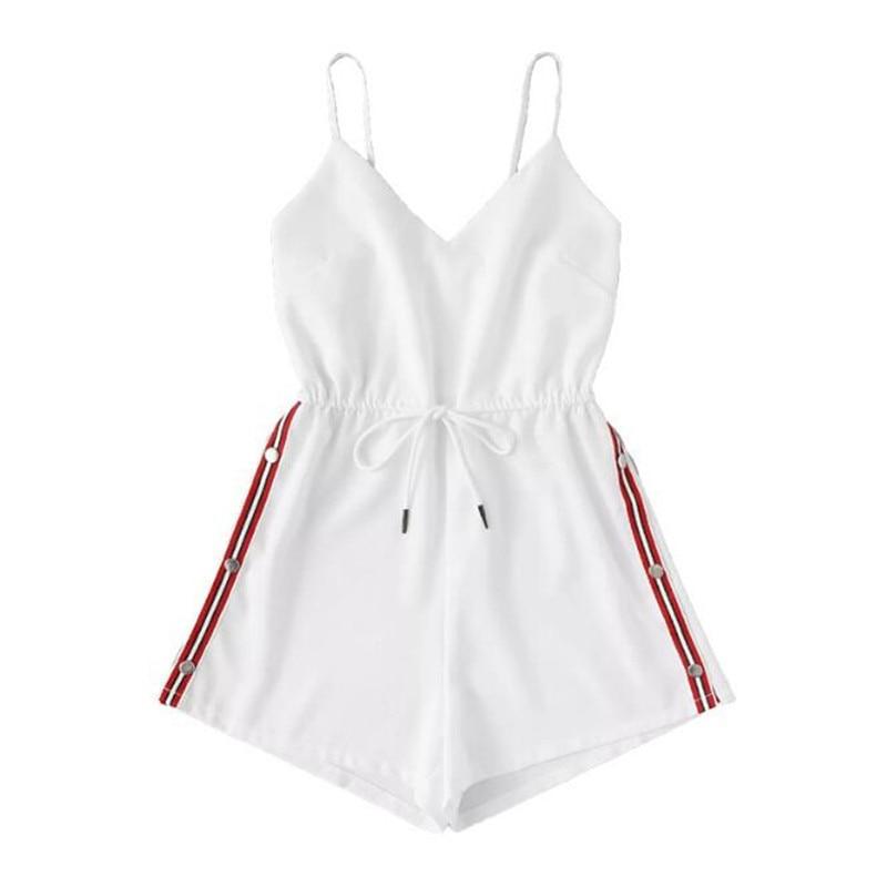 Contrast Striped Tape Romper Summer Beach Wear Women Sleeveless Playsuits Burgundy Spaghetti Strap Drawstring Romper GRNSHTS