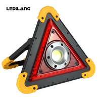 Lampe LED portable spotlight led work light rechargeable 18650 handheld searchlight for hunting camping COB+red warning light