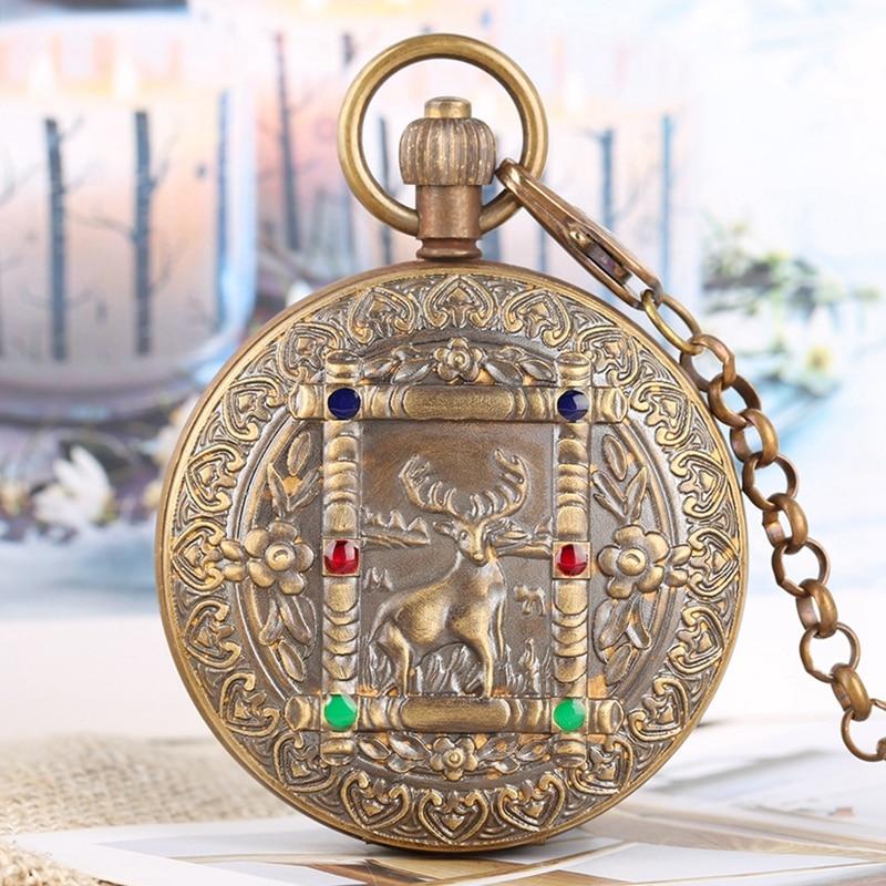 Pure Copper Elk Deer Flower Design Tourbillon Phase Sun Mechanical Pocket Watch Vintage Same Double Full Hunter Watch With Chain