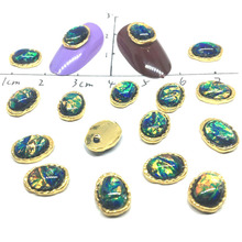 10 Pcs Oil Painting Mirror Nail Art Jewelry Charms Foil Gems 3D DIY Accessories Stass Ornament Oval Metal Studs Gold Decorations