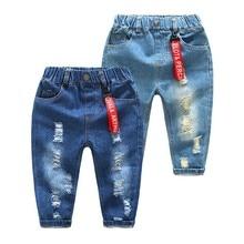 Toddler Boys Jeans Kids Clothes Spring 2019 Children Broken Hole Pants Baby Boy Elastic Waist Denim Trousers Jean Garcon Enfant