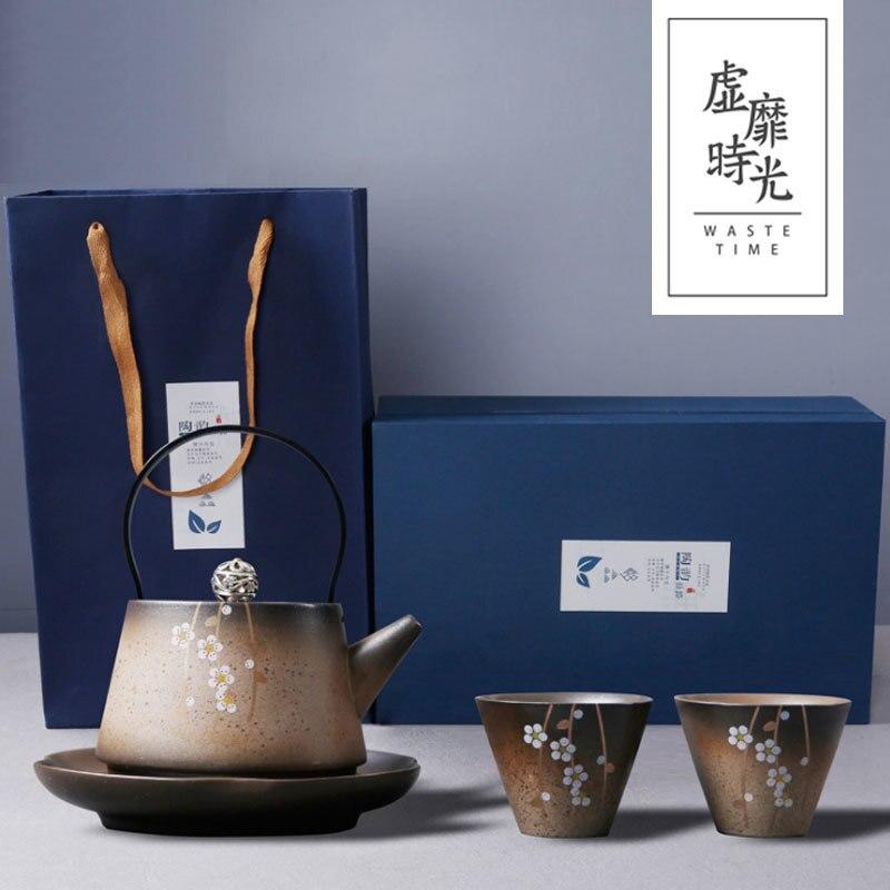 Fleurs de cerisier japonais kungfu thé cérémonie ensemble fait à la main poterie brute théière un pot deux tasses palette cadeau boîte teaware