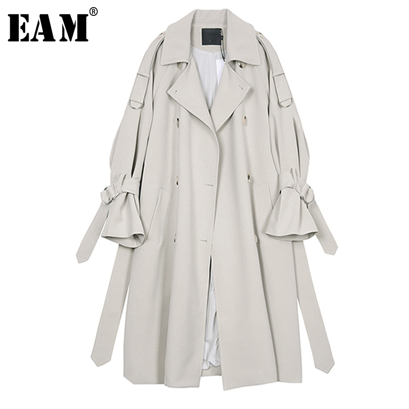[EAM] 2019 New Spring Summer Lapel Long Sleeve Gray Waist Bandage Big Size Long Windbreaker Women   Trench   Fashion Tide JR677