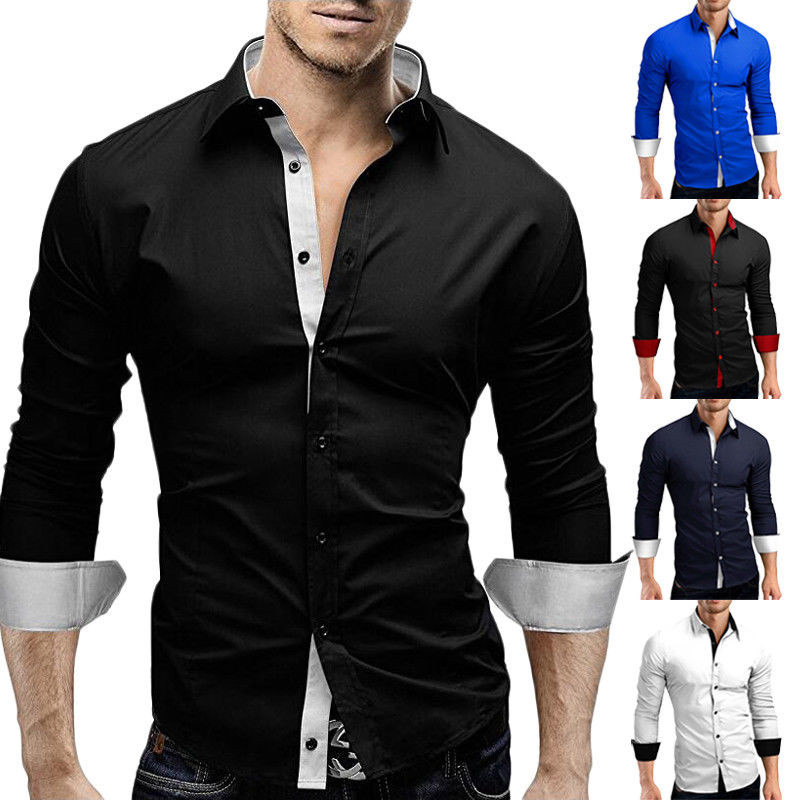 Men/'s Stylish Button Down Casual Slim Fit Long Sleeve Dress Business Shirts USA