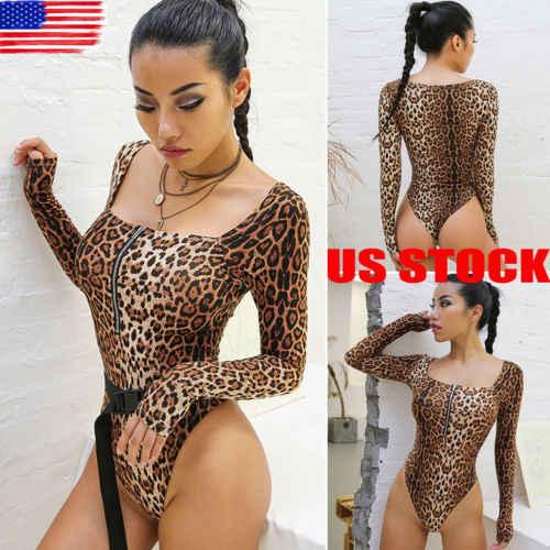 ae5e832e5010 2019 women's long sleeve animal leopard print ladies leotard bodysuit  Casual Outerwear Top Shirts sexy Long