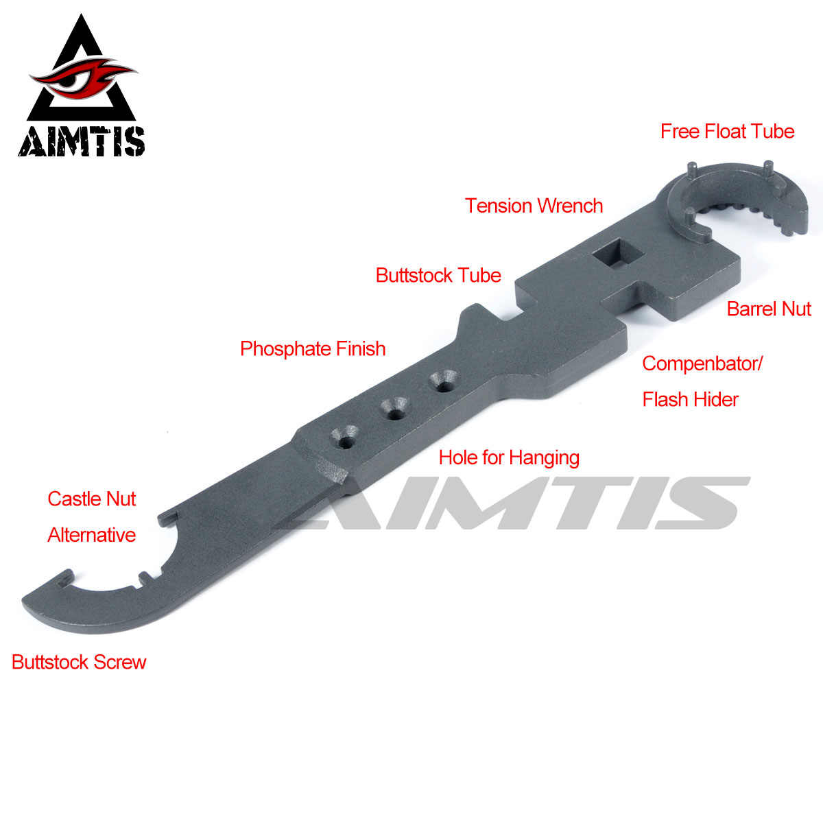 Aimtis AR15 Combo Alat Kunci Pas Termasuk Nut Wrench Barrel Nut Wrench Buttstock Tabung Alat Alat Muzzle Brake Flash Hider Handguar