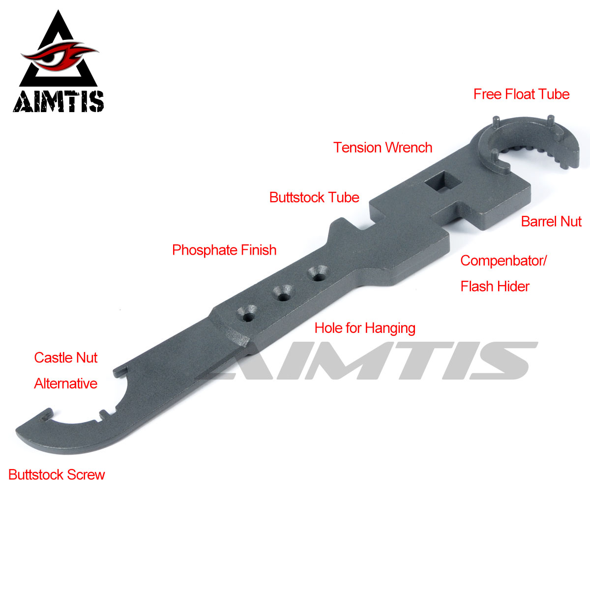 AIMTIS <font><b>AR15</b></font> Combo Wrench Tool includes Castle Nut Wrench Barrel Nut Wrench Buttstock <font><b>Tube</b></font> Tool Muzzle Brake Flash Hider Handguar image