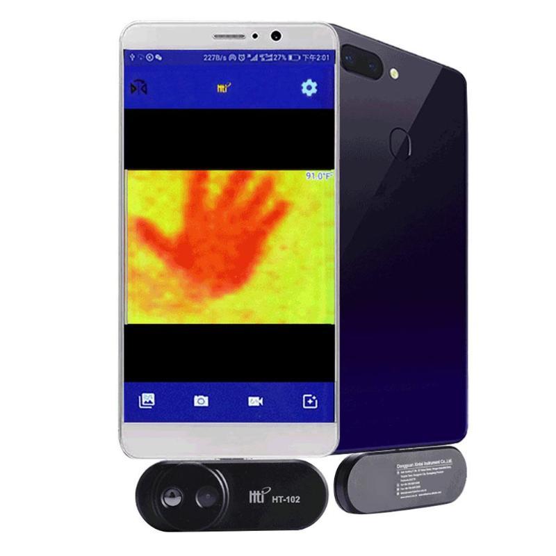 HT-120 téléphone portable externe infrarouge thermique imageur Android téléphone infrarouge caméra thermomètre OTG fonction avec adaptateur imageur - 3