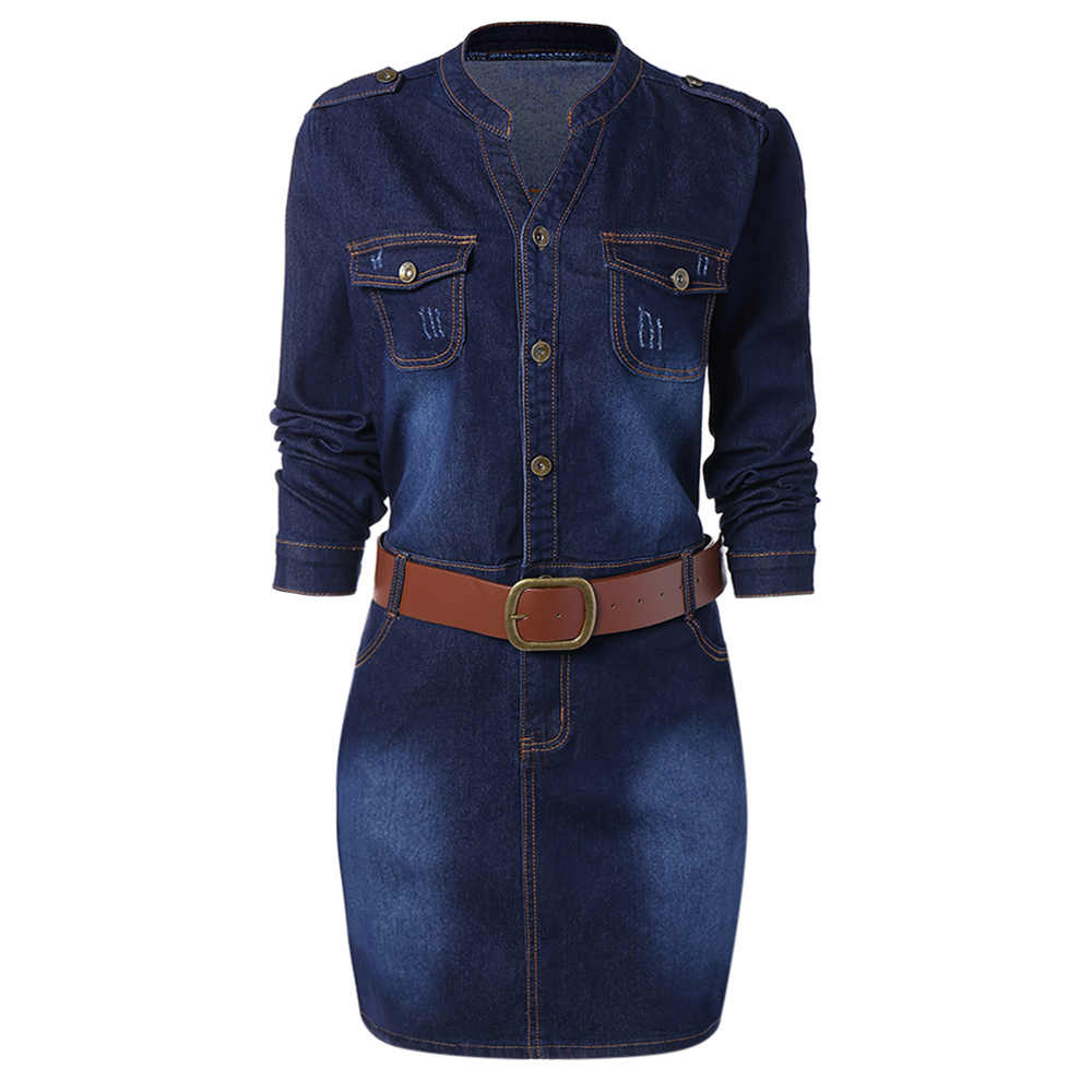 Wisalo/джинсовое платье большого размера с поясом, женская одежда, джинсовые платья с длинным рукавом и воротником-стойкой, Vestido, повседневное женское платье