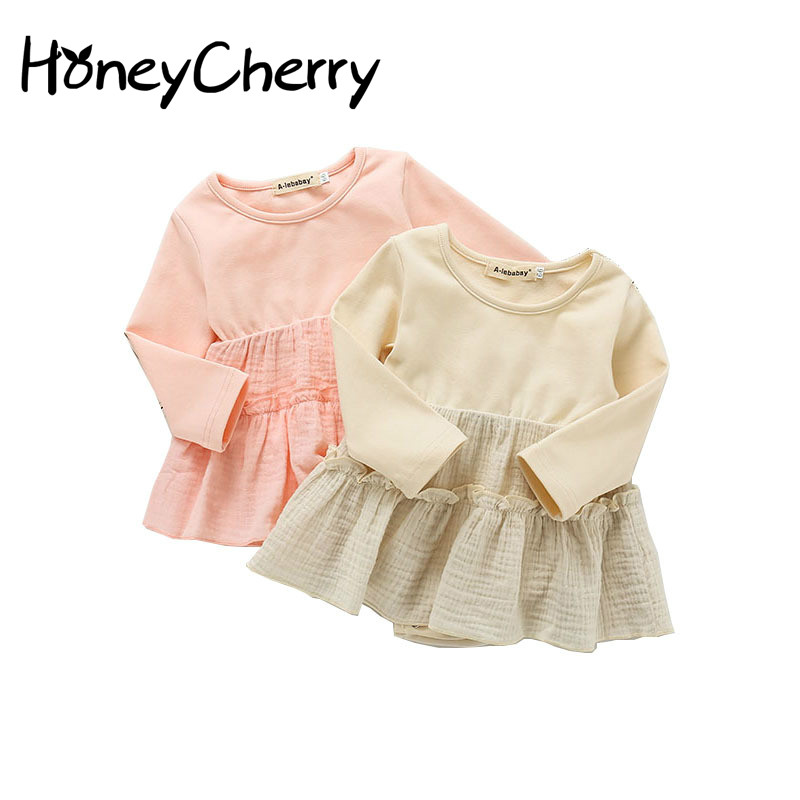 Spring Baby Bodysuits Skirt Uniform Clothes Double Cotton Clothes Climbing Clothes Delivery Lace Head Circumference Jumpsuit