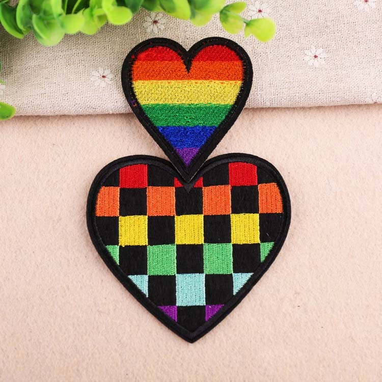 Woven IRON-ON PATCH Sew Embroidery Applique Fashion Badge RAINBOW HEART