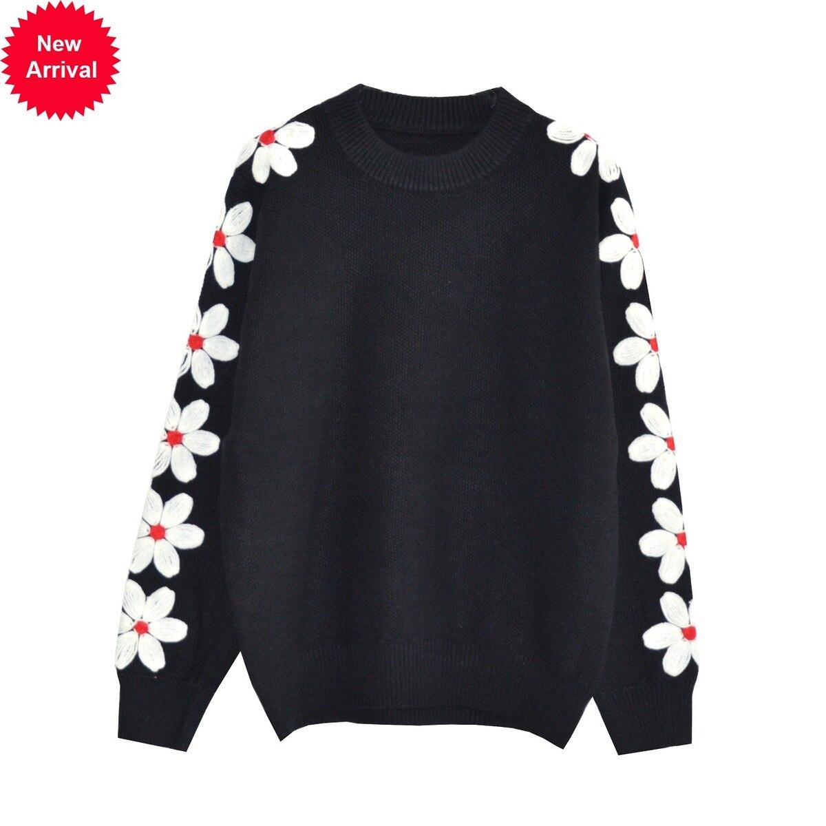 Tête Automne Et Pulls Tricot Mode Femmes 2018 Blackset Chandail Head Qualité Haute Rond Chandails Crochet Ligne Manches Fleur Col gbf7y6