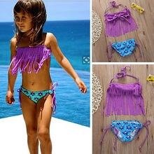 2018 Girls Kids Child Tassels Tankini Brazilian Bikini Biquni Beachwear Swimwear Bather Swimmers Swimsuit Swimming Suit Children