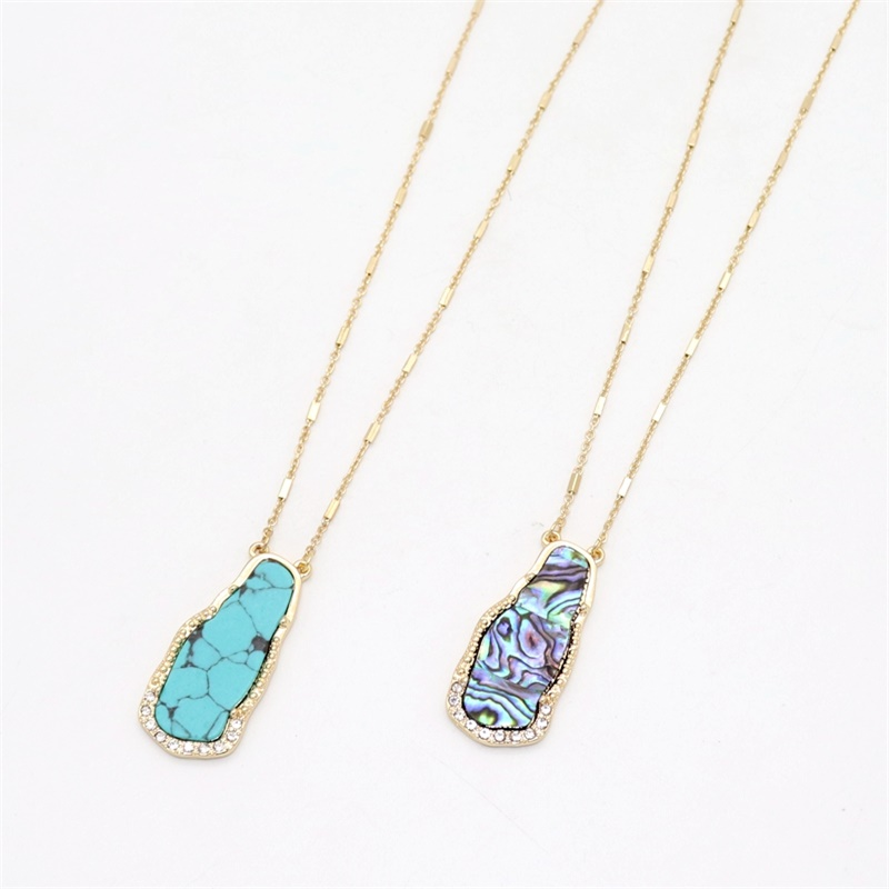 Fashion Green howlite Stone Abalone Shell Pendant Gold Color Long Chain Sweater Necklace Geometric Body Jewelry