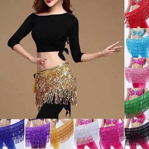 Women Belly Dance Sequin Tassel Diamond Skirt Belt Hip Waist Scarf Wrap Costume