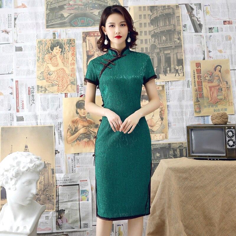 Sheng Coco Women's Lace Dresses Evening Summer Short Chinese Qipao 2019 Cheongsam Modern Clothes Green Vestido Oriental Style