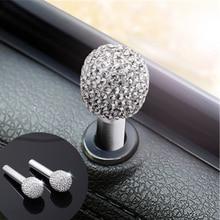 1pair Car Door Lock Knob Pins Rhinestone-encrusted Aluminum alloy door handle Interior