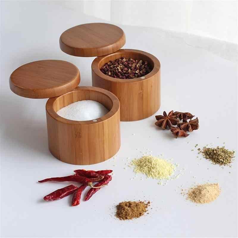 Бамбуковые круглые натурального бамбука солонка контейнер современный кухня