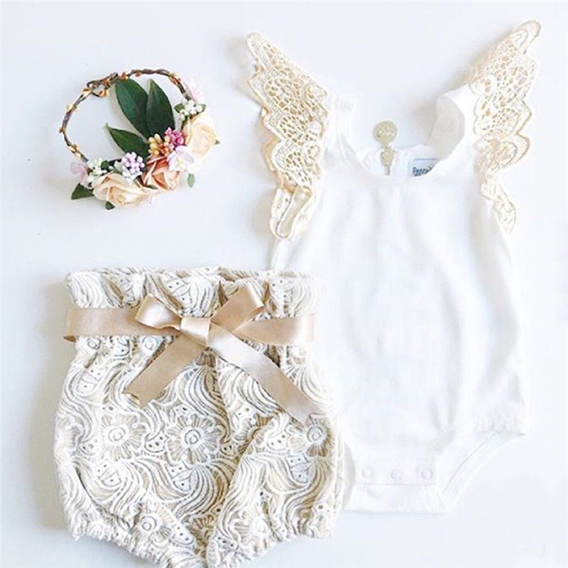 Cute Newborn Baby Girls Fly Sleeve White Bodysuit Tops Lace Flower Shorts 2PCS Outfits Princess Girls Summer Holiday Clothing