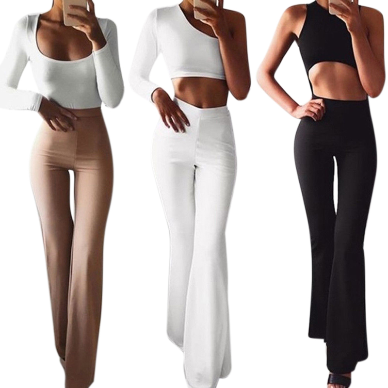 Women's High Waist Hippie Pants Bell Bottom Womens Flare Pants 2019 Sweatpants Sportswear Fitness Trousers For Women Black White
