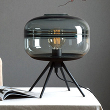 Modern American glass table lamp creative bedroom bedside lamp brown blue gray glass shade lamp iron bracket reading desk lamp недорого