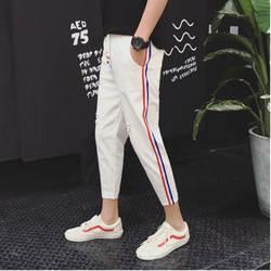 2019 Весна и лето новый порт ветер Магазин Основной ветер белый отверстие в полоску с низкой талией джинсовые штаны Белый/Черный S-2XL
