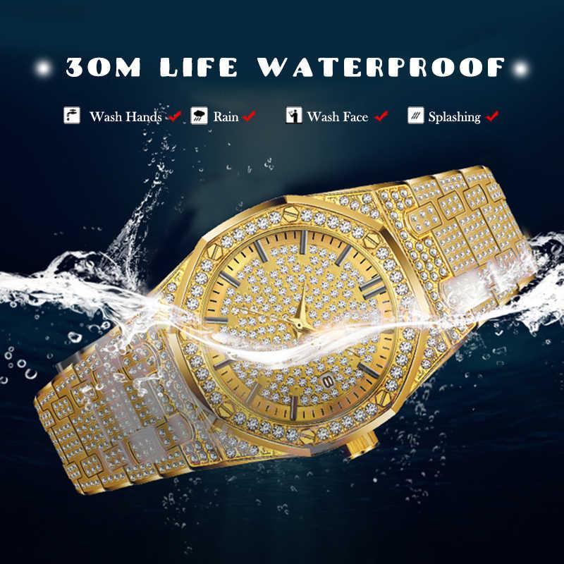 MISSFOX שעון נשים שעונים יוקרה מותג 2019 18 K זהב שעון אופנה לוח שנה יהלומי גברת שעון נשי קוורץ שעוני יד שעה