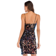 MUXU fashion glitter sexy dress club women clothing party backless clothes ladies dresses rainbow sequin vestidos kleider