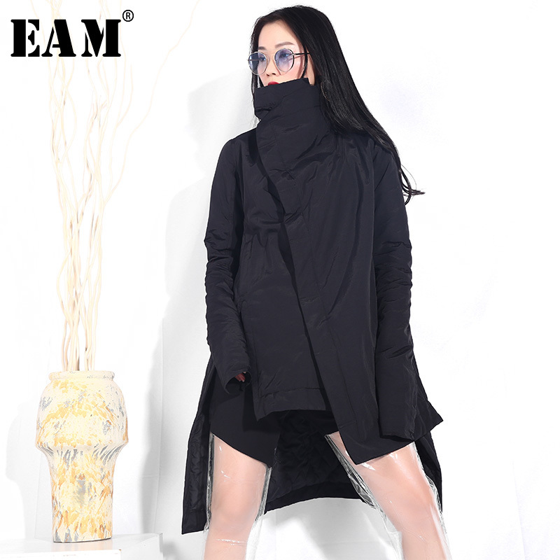 [EAM] 2019 New Spring stand collar long sleeve black thin irregular hem split joint Cotton-padded Coat Women   Parkas   Fashion YA77