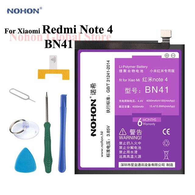 Original NOHON Battery For XiaoMi RedMi Note 4 BN41 4100mAh Built-in Phone High Capacity HongMi Note4 Li-polymer Tools+Package