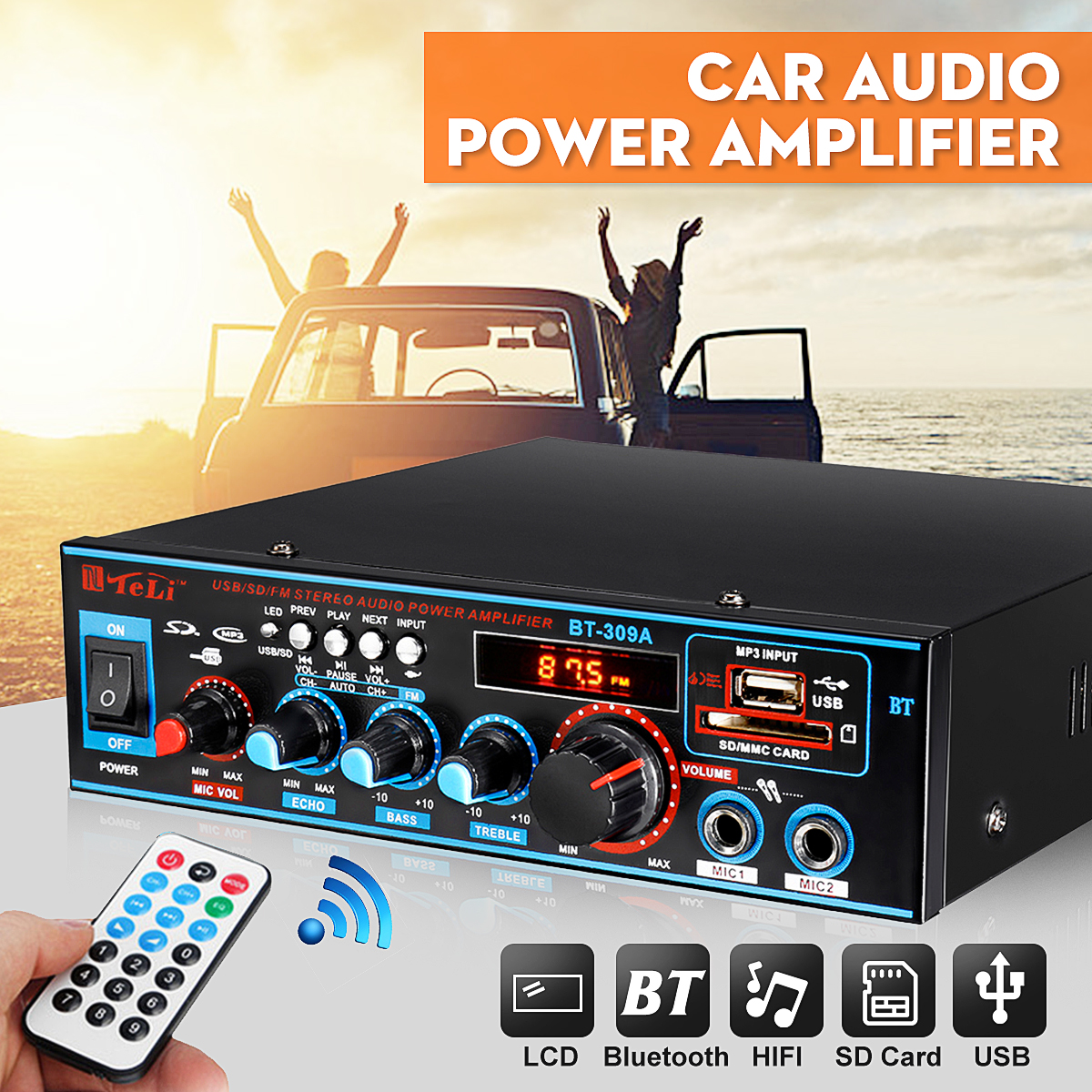 220V 12V 800W Car Audio Stereo Power Amplifier Bluetooth USB FM Radio H